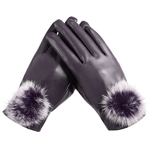 Fashion Women PU Leather Gloves Winter Warm Fleece Gloves Cycling Driving Riding Gloves, Purple, One Size Fit XS-M
