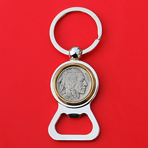US 1927 Indian Head Buffalo Nickel 5 Cent Coin Silver Gold Two Tone Key Chain Ring Bottle Opener NEW