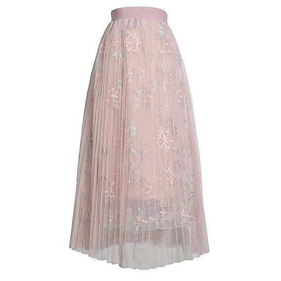 Crylee - Falda Larga Estilo Bohemio para Mujer Rosa Rosa Talla ...