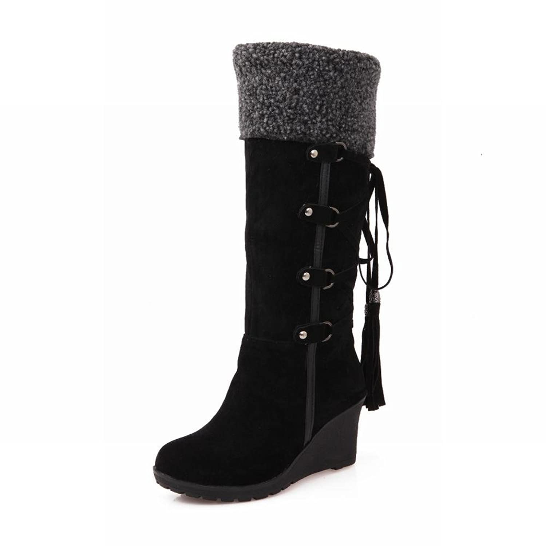 Carolbar Women's Lace up Fashion Winter Faux Fur Elegance Warm Wedge Heel Snow Boots