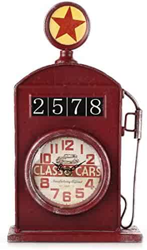 Lily's Home Antique Inspired English Gas Pump Mantle Clock, Battery Powered with Quartz Movement, Makes an Ideal Gift for Antique Sign Collectors, Red (13