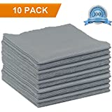 Double Sided Microfiber Cleaning Cloth 10 Pack Grey 14x14 inch for Car, Ultra Soft, Super Absorbent, Easily Remove Dust, Dirt, Fingerprints, Oil, Smudges, 100% Safe On All Delicate Surfaces