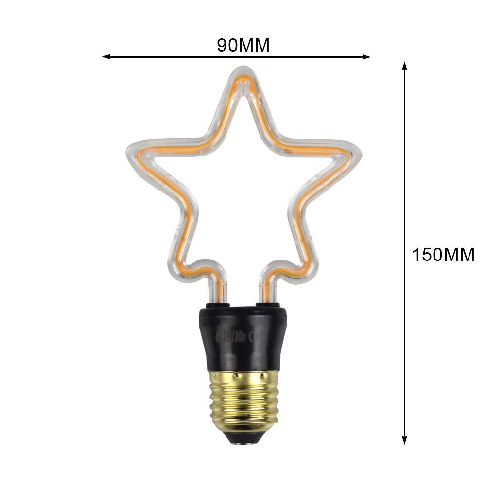 Yafido Star Shape Night Light 4W Curved LED Filament E27 Bulb Decorative Neon Lamp Party Accessory for Festival Wedding Christmas Restaurant Bar Children Bedroom 4Pcs