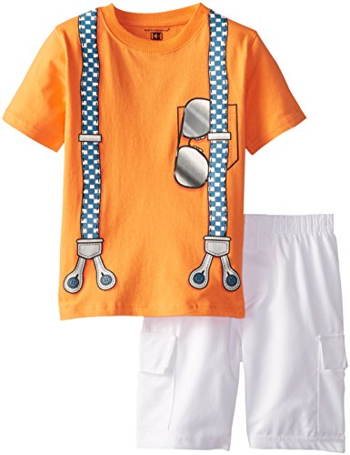 Kids Headquarters Little Boys' Tee with Suspenders Screen Print and Shorts 4-7, Orange, 4