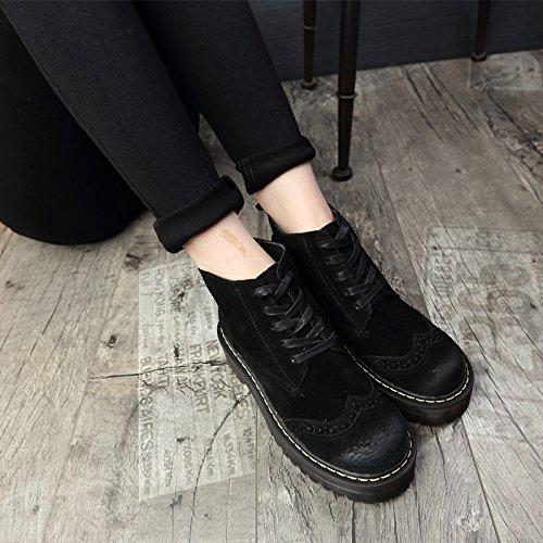 BLACK BLACK BLACK stivaletti pizzo e donna pelle pelle pelle pelle 120W in L'autunno pulire stivali retrò 36 NSXZ inverno TWB7pcW