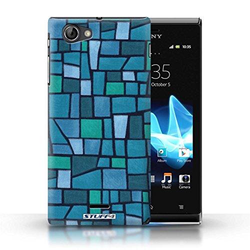 Etui / Coque pour Sony Xperia J (ST26i) / Bleu/Turquoise conception / Collection de Carrelage Mosaïque