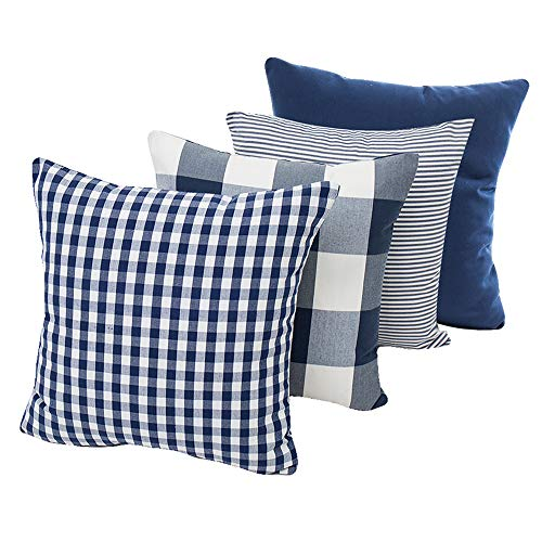 Throw Pillow Covers Cases Geometric Stripe Tartan Checkered Buffalo Check Plaid Pillowcases Cushion Covers Decorative Throw Pillow Covers Waist Pillow Covers Cotton Linen,Set of 4 (Blue (18x18