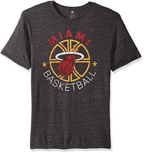 NBA Miami Heat Men's Double Dribble Tri-Blend Short Sleeve Tee, Black, Medium