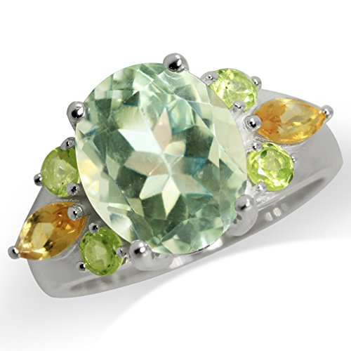 4.32ct. Natural Green Amethyst, Peridot & Citrine 925 Sterling Silver Cocktail Ring Size (Sterling Silver Peridot Citrine Ring)