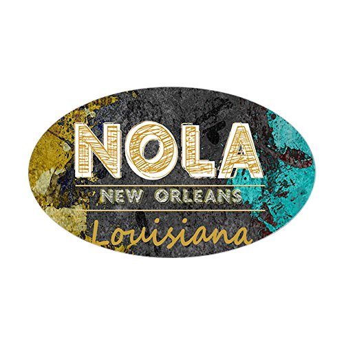 New Orleans Bourbon - CafePress NOLA New Orleans Black Gold Turquoise Grunge Oval Bumper Sticker, Euro Oval Car Decal