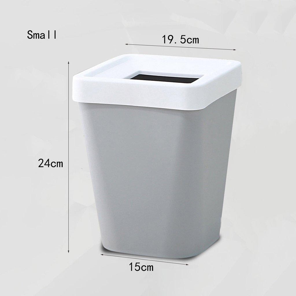 Cubo de basura rectangular tapa creativo con la tapa rectangular desmontable, cocina Cuarto de baño Sala de estar Cesta de desechos grande Cubo de basura de la oficina del estudio ( Color : Blanco , tamaño : Large ) b15555