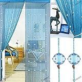 Timere Crystal Beaded Curtain Tassel Curtain - Partition Door Curtain Beaded String Curtain Door Screen Panel Home Decor Divider Crystal Tassel Screen 90x200cm (Blue#)