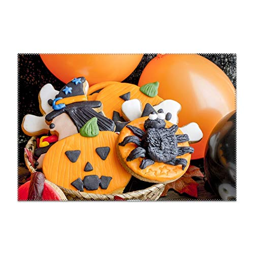 Boeshkey Washable Easy to Clean Holiday Halloween Biscuit Placemat for Kitchen Table Heat-resistand Table Mats 12x18 inches