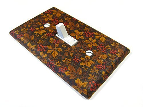 Brown Leaves Red Berries Light Switch Cover