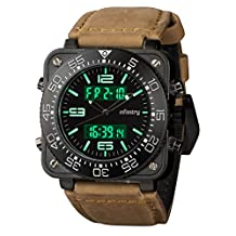 INFANTRY Mens Big Face GENUINE LEATHER Wrist Watch Multifunction Military Army Sport Day Date
