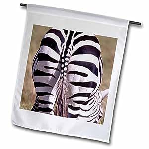 "3dRose fl_83926_1 ""Zebra Rear End, Tanzania Africa - Na02 Dno0371 - David Northcott"" Garden Flag, 12 x 18"""