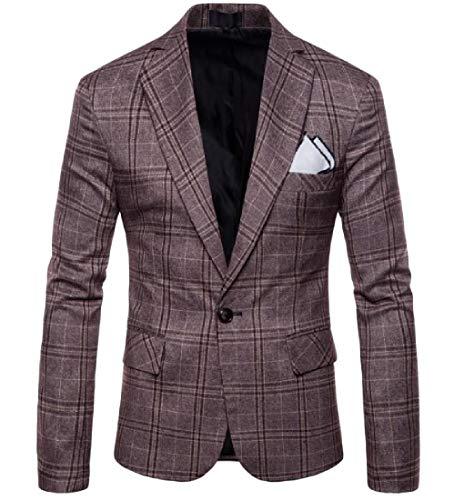 Mfasica Men's Retro Business Leisure Long Sleeve Plaid Suit Blazer Coffee 3XL by Mfasica