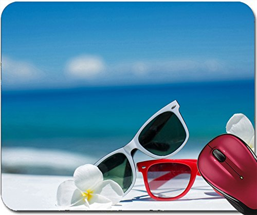 Liili Mousepad ID: 27458738 Two pair of sun glasses on a beach table on blue ocean - Cheap Imprinted Sunglasses