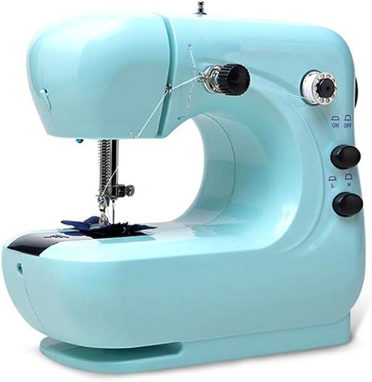 Mini máquina de coser para telas gruesas y de capas múltiples, costura de bordado de 2 velocidades Máquina de acolchado de alta resistencia Fácil de usar con mesa de extensión: Amazon.es: Hogar