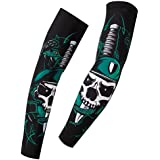 MagicMen 2 Pcs Mens Spider Web Arm Sleeves Basketball Tennis Lengthen Elbow Pad Protective Support Cycling Arm Warmer Sun UV Cool Protection