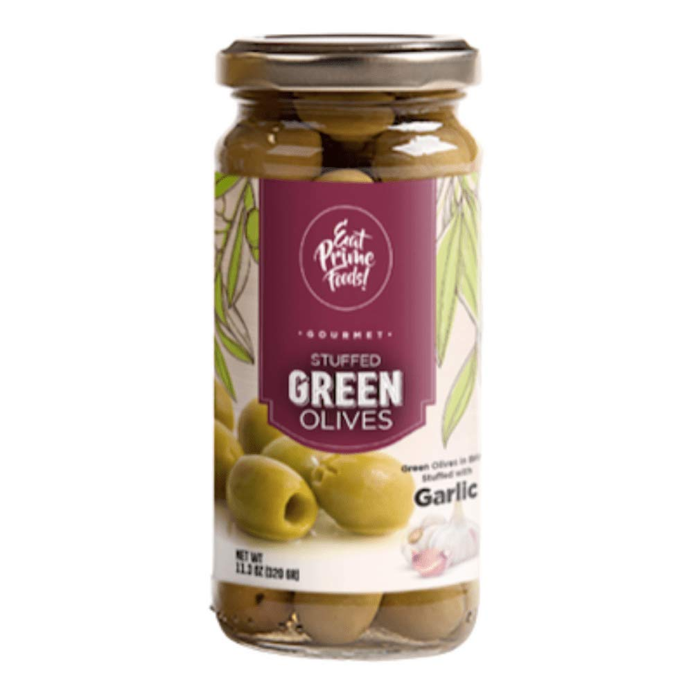 Eat Prime Foods Stuffed Green Olives With Garlic | Gourmet Stuffed Green Olives Perfect For Salads, Cheese Table, Cocktails | Premium Class 80/100 Stuffed Olives | Garlic stuffed olives