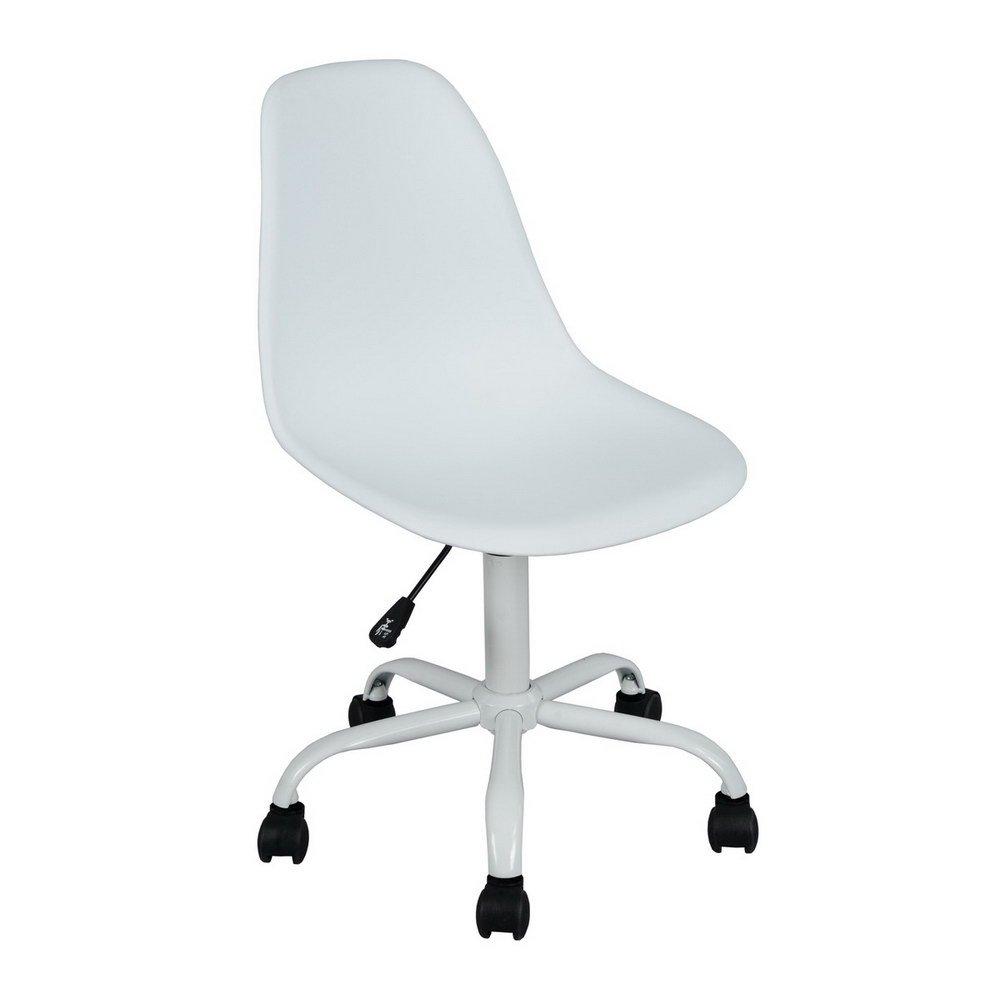 Homy Casa| Mid Century Modern Home Office Tulip Egg Chair Wheeled 360 Rotation (White)