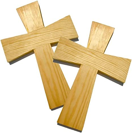 Religious Home Decoration 3-Pack Large Cross Unfinished Wood Wall Cross 11.8 x 15.5-Inch Hanging Cross for DIY Craft