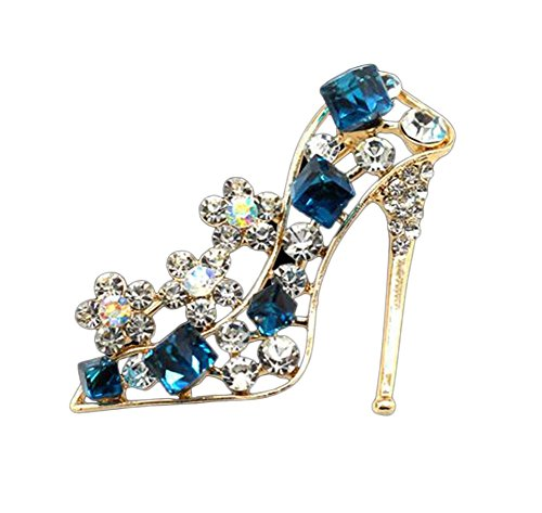 Qinlee Women Brooch Pins Crystal Rhinestone High Heels Brooch Charm Clothing Accessories for Wedding Party from Qinlee