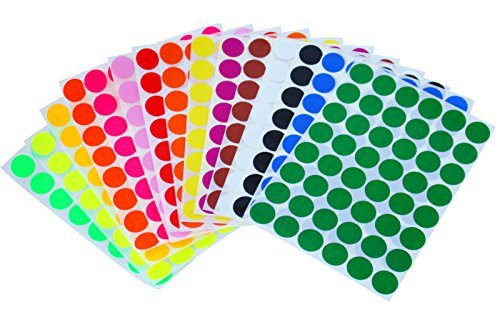 Kids Colored Round DOTS ~ 5/8  inch 11/16 (0.69) 17mm - 15 Colors - 16 Sheets - Art, Crafts, Fun and Games Stickers - 768 Pack