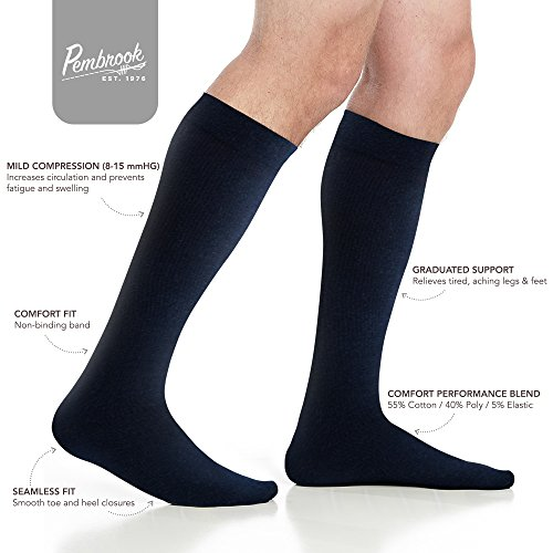 Men's Compression Socks (6-Pack) – L/XL – Navy - Graduated Muscle Support, Relief and Recovery. Great for Running, Medical, Athletic, Diabetic, Travel, Nursing (8-15 mmHg) by Pembrook (Image #3)
