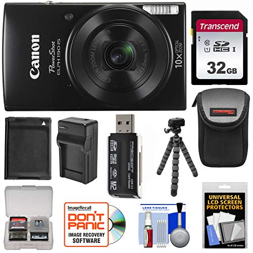 Canon PowerShot Elph 190 is Wi-Fi Digital Camera (Black) with 32GB Card + Case + Battery & Charger + Flex Tripod + Kit