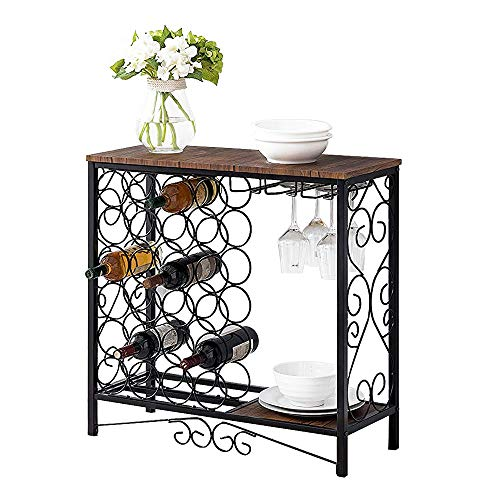 MORITIA Wine Storage Organizer Display Rack, Freestanding Wine Rack with Glass Holder, Holds 24 Bottles, Vintage Brown, 30.3W x 12D x 30H inch