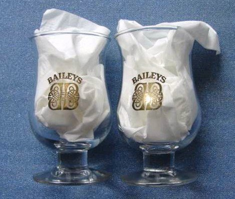 Baileys Irish Cream Shot Cordial Glasses Stem Footed Pair