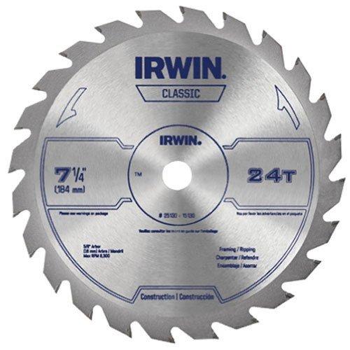 IRWIN Tools Classic Series Steel Corded Circular Saw Blade, 7 1/4-inch, 24T - 1/4 7 Saw 24t Circular Inch