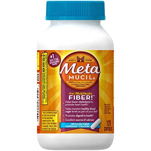 Metamucil MultiHealth Daily Fiber Supplement + Calcium, Capsules 120 ea (Pack of 2)