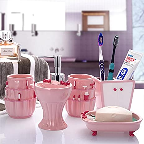 Brandream Cute Kids Bathroom Accessories Resin Bathroom Set,5Pcs,Pink
