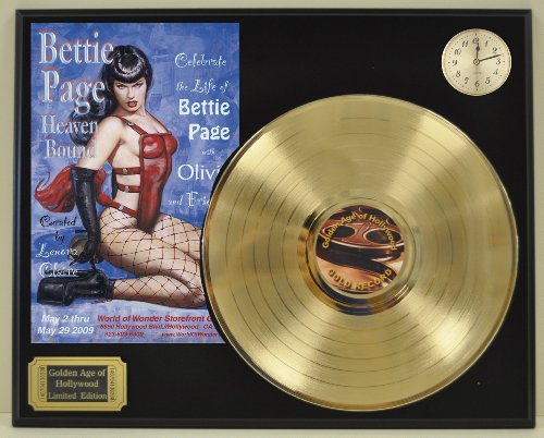 Bettie Page Limited Edition Gold LP and Clock Record Display. Only 500 made. Limited quanities. FREE US SHIPPING