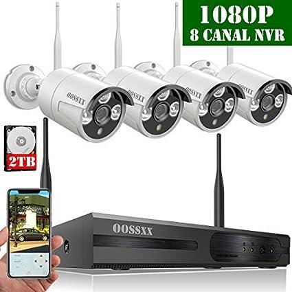 Nein HDD 【2019 Neu】 /Überwachungskamera Set System Video/überwachung CCTV 1080P NVR Rekorder /Überwachungskamera Outdoor Mit 8 1080P Innen//Au/ßen IR Nachtsicht Bewegungsmelde,Kamera Durch OOSSXX