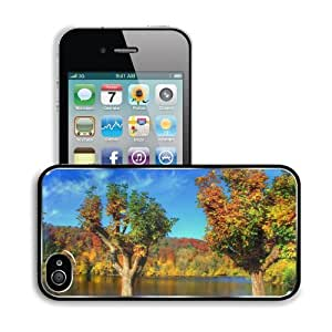 Autumn Forest Green Lake Scenery Apple iPhone 4 / 4S Snap Cover Premium Aluminium Design Back Plate Case Customized Made to Order Support Ready 4 7/16 inch (112mm) x 2 3/8 inch (60mm) x 7/16 inch (11mm) MSD iPhone_4 4S Professional Metal Cases Touch Acces by lolosakes