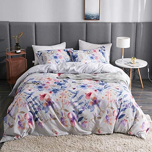 Plants Oil Painting - LAMEJOR Duvet Cover Set Twin Size Oil Painting Plant Print Comforter Cover Bedding Set (1 Duvet Cover+2 Pillowcases) White
