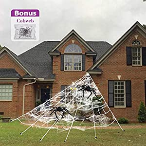 Pawliss Halloween Decorations, 16 Ft Giant Dense Spider Web with 2 Pack 30 inches Spiders Set, Halloween Outdoor Yard…