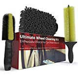 Wheel Cleaning Brush Detailing Kit - for Cars Trucks Motorcycles Chrome Exhaust Tips Includes Brake Dust Scrubber Microfiber Mitt and Long Handled Rim Brush for Car Guys and Auto Detail Enthusiasts