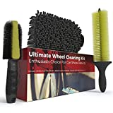 Car Wash Brush and Wheel Cleaner Kit – Includes Rim Cleaner Wheel Brush, Brake Dust Tire Brush and Microfiber Wash Mitt – Perfect Auto Detailing Supplies for Car, Truck and Motorcycle Enthusiasts
