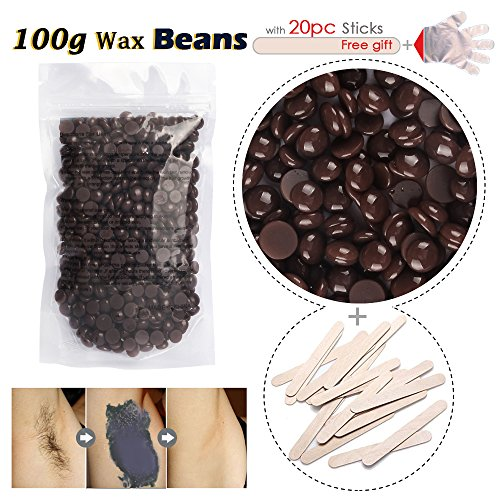 Hair Removal Kit Pearl Wax - Hard Wax Beans with Disposable Gloves and Stick (Chocolate)