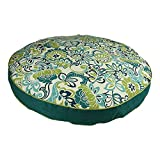 XL Indoor Outdoor White Blue Green Floral Pattern Dog Bed, Paisley Round Pet Bedding, Aqua Bold Print, Features Water Mildew Fade Resistant, Removable Cover, Stylish, Polyester