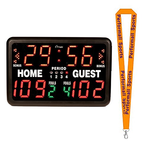 Champion Sports Multi-Sport Tabletop Indoor Electronic Scoreboard Black Bundle with 1 Performall Lanyard T90-1P