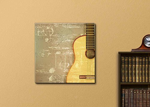 Vintage Style Abstract Green Sound Grunge Background with Acoustic Guitar Wall Decor