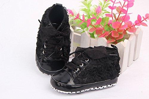 YICHUN suave bebé zapatos prewalker cuna zapatos rosa de bebé zapatos de suela de encaje zapatos negro Talla:Sole Length:11cm/4.3 inches negro