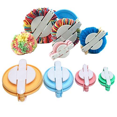 Yarn Wool Craft (Color Scissor 4 Sizes Pompom Pom-pom Maker for Fluff Ball Weaver Needle Craft DIY Wool Yarn Crochet Knitting Craft Tool Set Decoration)