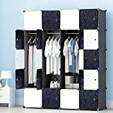 MEGAFUTURE Portable Wardrobe for Hanging Clothes, Wall Décor, Combination Armoire, Modular Cabinet for Space Saving, Ideal Storage Organizer Cube for books, toys, towels(20-Cube)